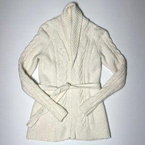 BR Alpaca Blend Open Front Belted Cardigan XS EUC